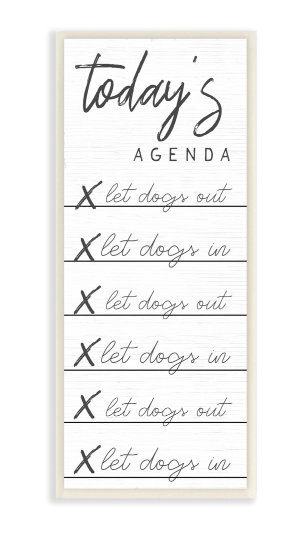 Today's Agenda Taking Dog Out Funny Checklist Wood Wall Art