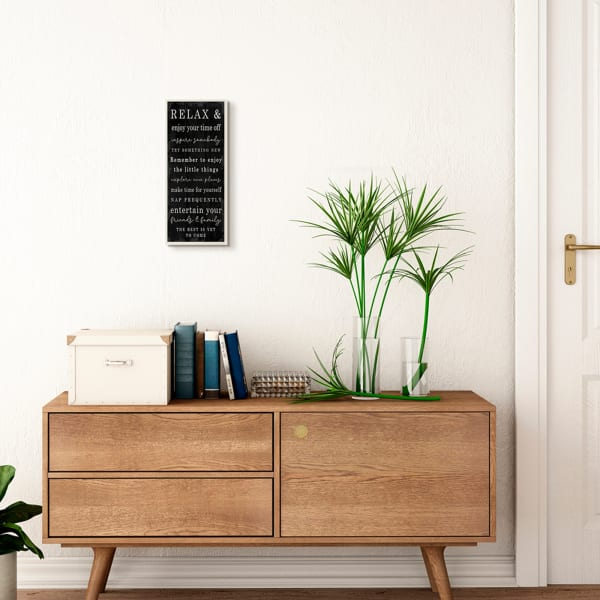Relax and Enjoy Self Care Phrases Work Break Motivational Wood Wall Art