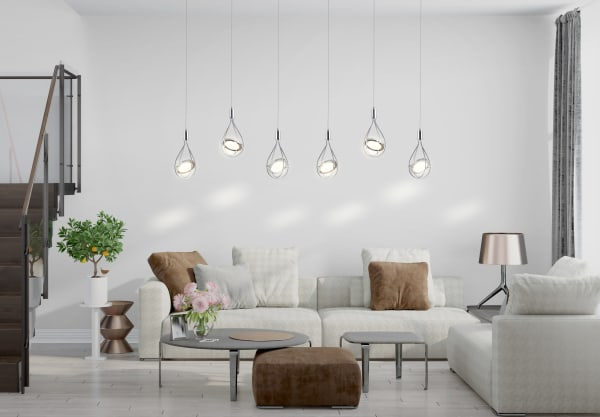 Adjustable Modern Integrated 4-Light Linear LED Metal Pendant, Chrome