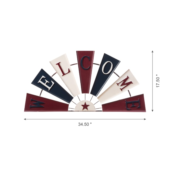 Metal Patriotic Half Wind Spinner Wall Decor