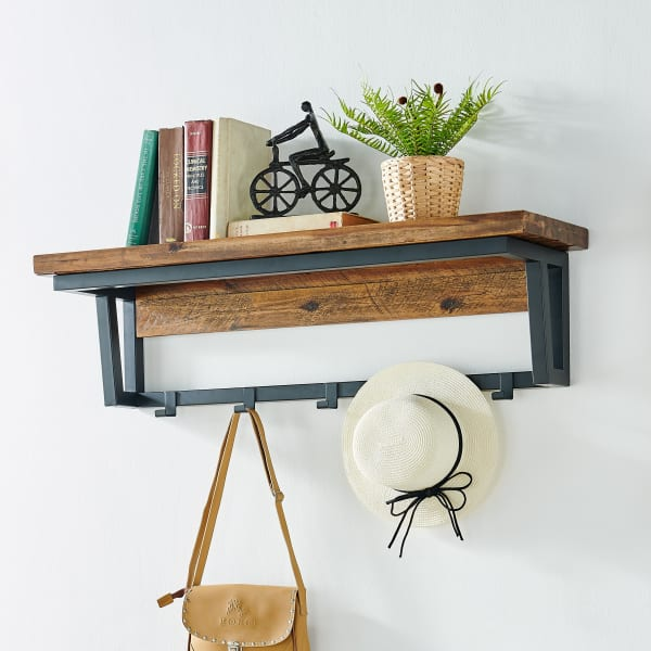 Claremont Rustic Wood Coat Hook with Shelf