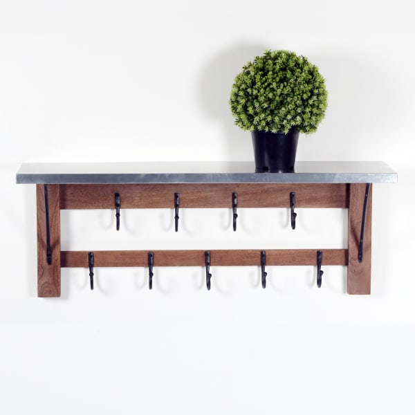 Millwork Wood/Zinc Double Row Hook Shelf