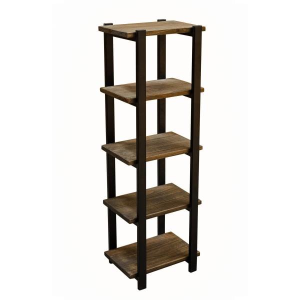 Pomona Metal and Solid Wood Bath Floor Storage Shelf