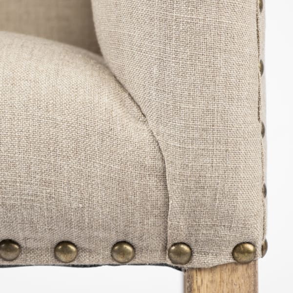Bergen Beige Fabric Covered Seat With Brown Wood Frame Accent Bench
