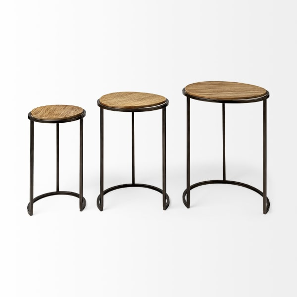Glover (Set of 3)  Brown Wood Top W/Metal Nesting  Round Accent Tables