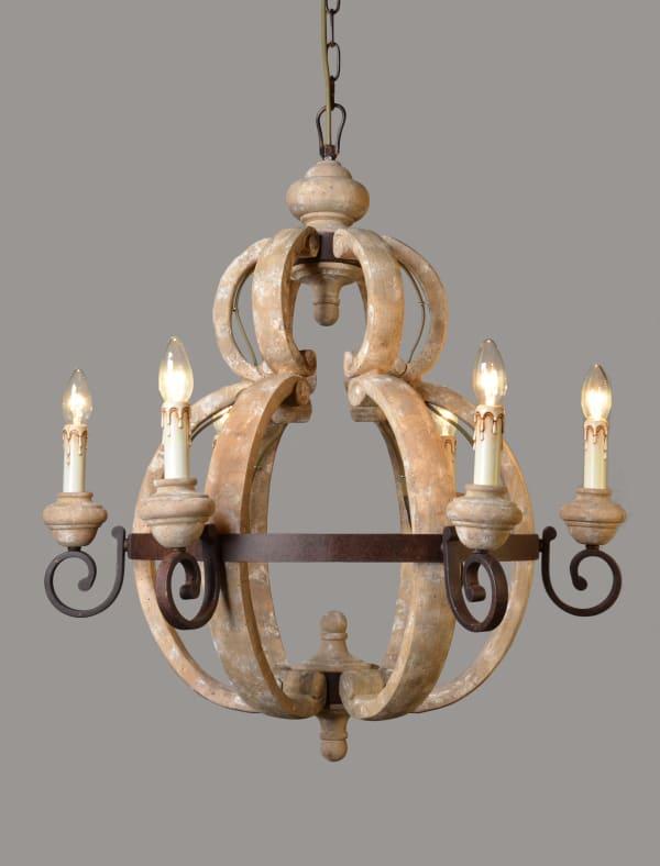 Beatrice Iron and Wood Pendant Light