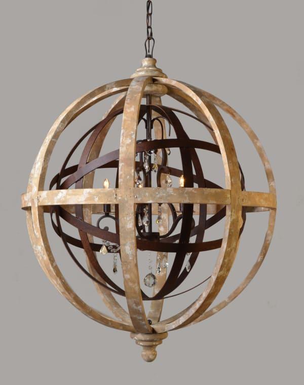 Grace Iron and Wood Open work Globe Pendant Light