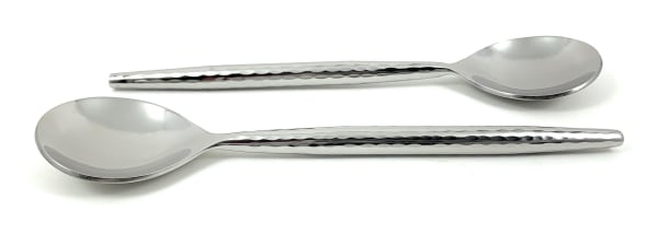 Hammered Stainless Steel Silver Glossy Set of 6  Tablespoons