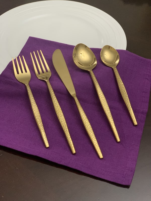 Place Setting Gold Plated 5 Piece Flatware Set