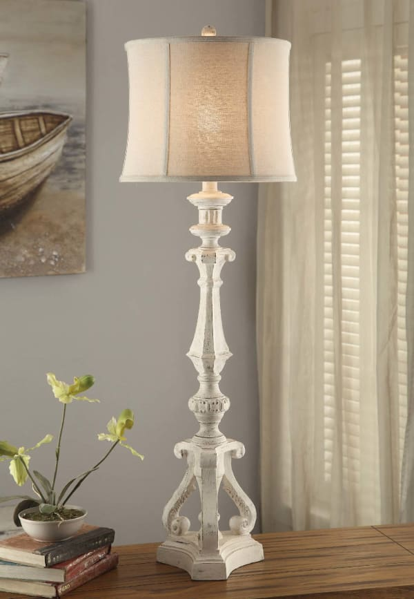 Fauna White Wash Resin Table Lamp