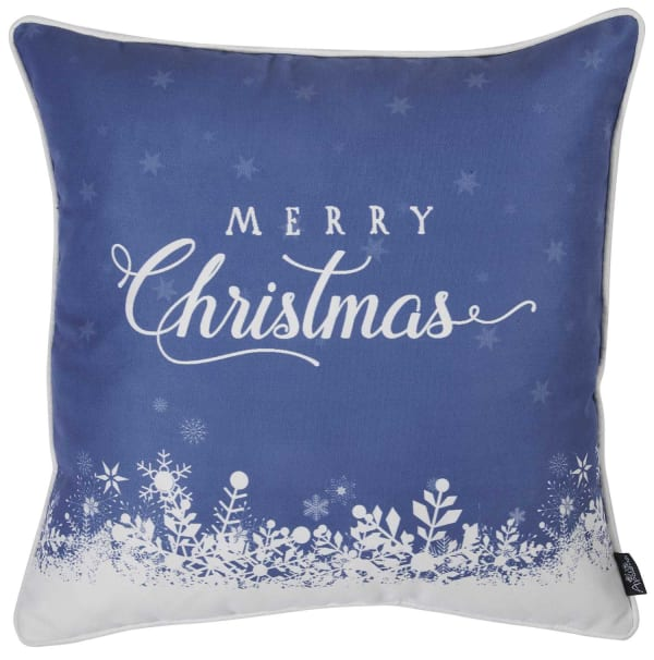 Merry Christmas Snow Scene Decorative Throw Pillow Cover