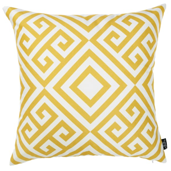 Printed Decorative Throw Yellow and White Pillow Cover