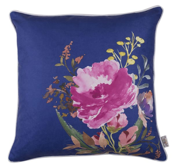Watercolor WildFlower Decorative Throw Blue Pillow Cover