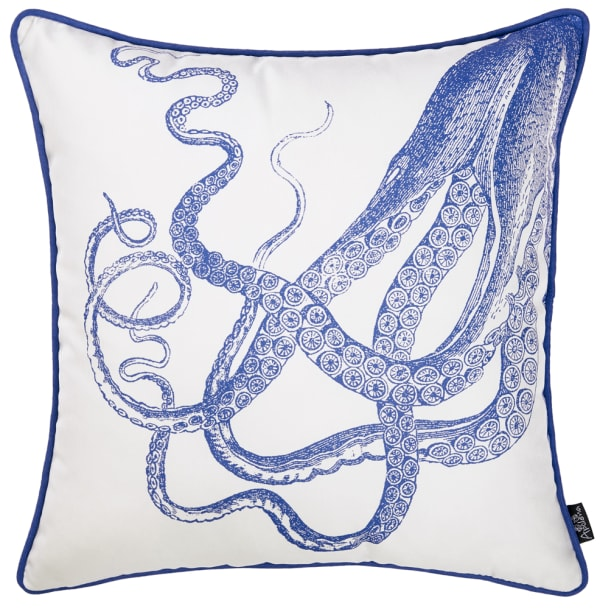 Octopus Decorative Throw Square White And Blue Pillow Cover
