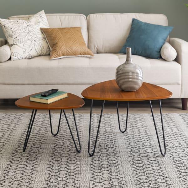 Hairpin Walnut Leg Wood Nesting Set of 2 Coffee Tables