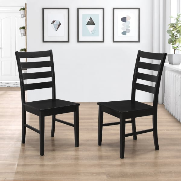 Transitional Black Ladder Back Set of 2 Dining Chairs