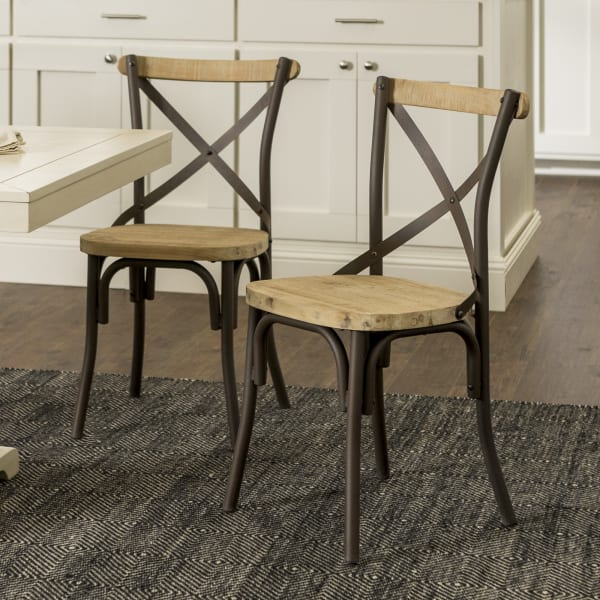 Farmhouse Reclaimed Wood and Metal Set of 2 Dining Chairs