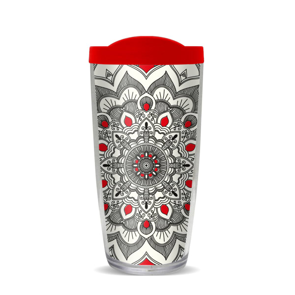 Boho Mandala Monochrome Fire Red Lid Tumbler