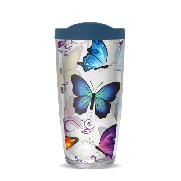 Vibrant Butterflies Blue Lid Tumbler
