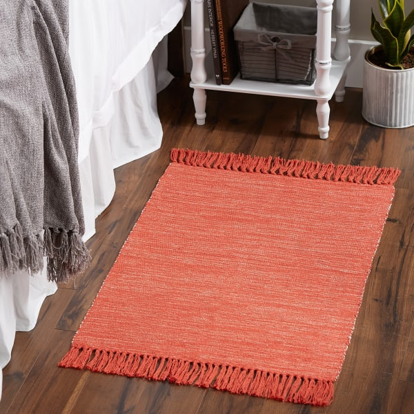 Vintage Red and Off White Set of 2 Tone Ribbed Rug