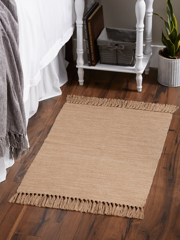 Stone and Off White Set of 2 Tone Ribbed Rug