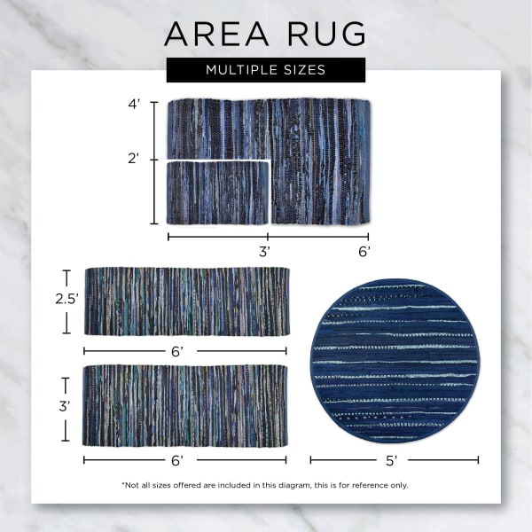 Stonewash Blue Variegated Recycled Yarn Floor Runner