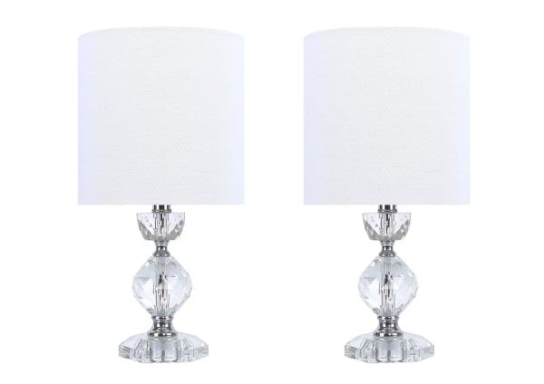 Genuine Crystal & Polished Nickel Accent Lamps
