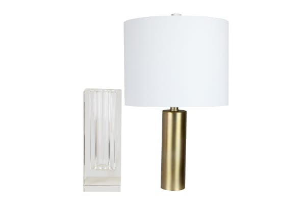Clear Crystal Vase & Plated Gold Insert Table Lamp