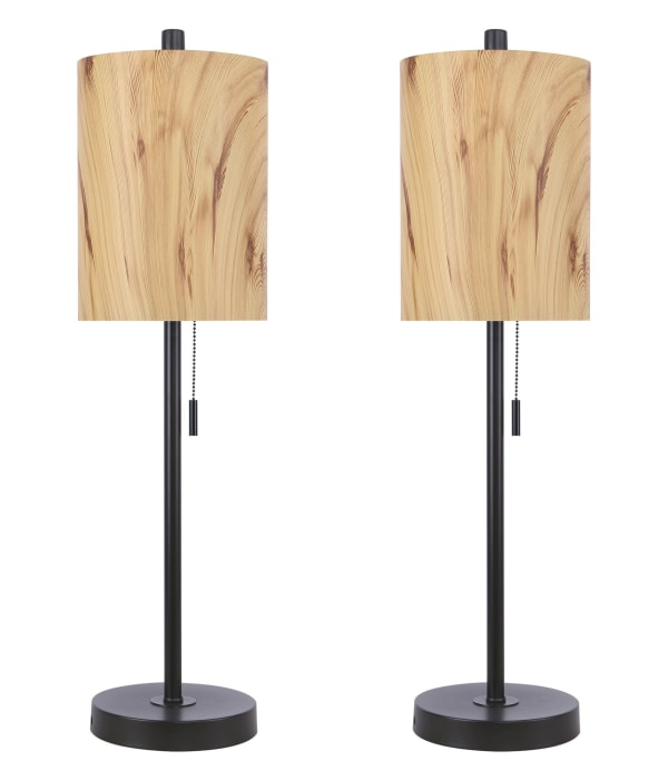 Oil Bronze with Metal Shades in Light Blonde Faux Wood Finish Table Lamps