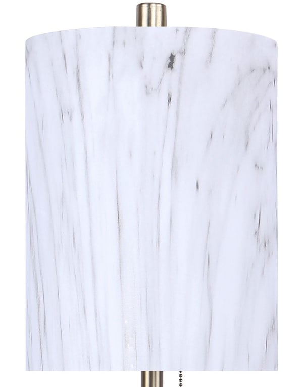 Gold Plated with Metal Shades in White Marble Finish Table Lamps