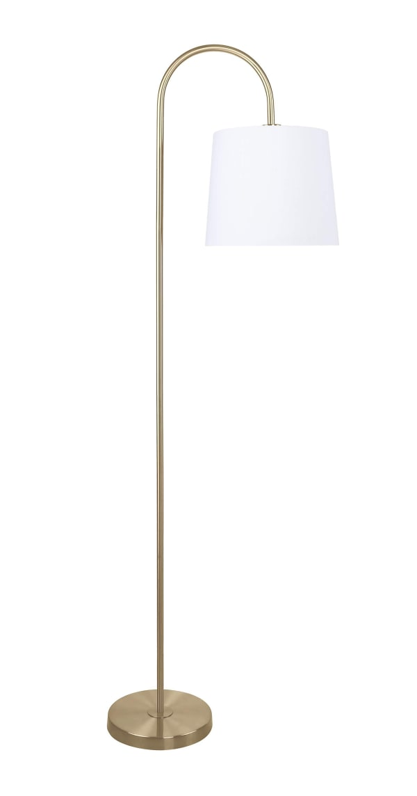 Antique Soft Brass with Slim-line Arched Design & Off-White Linen Glass Shade Floor Lamp