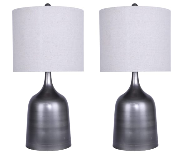 Vintage Metal with Bell-Shaped Base & Natural Linen Drum Shades Table Lamp