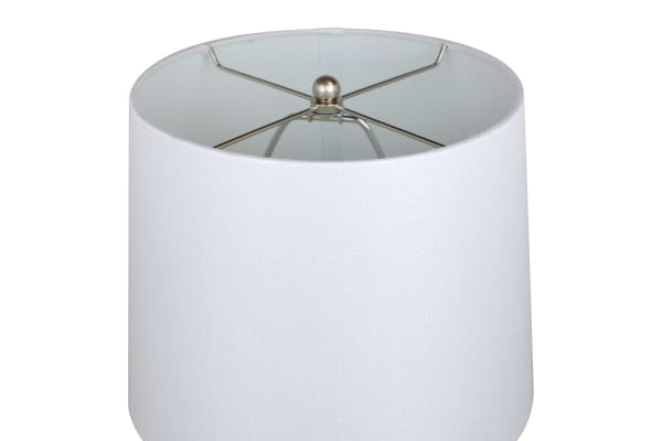 Brushed Nickel ft. Modern Stacked Ball Body and White Linen Tapered Drum Shades Set of 2 Table Lamps