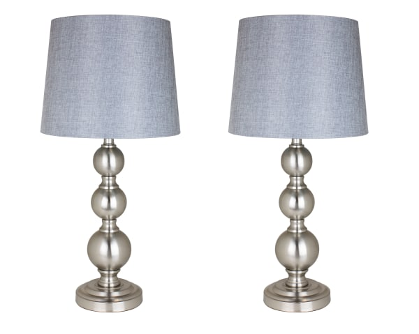Brushed Nickel ft. Modern Stack Ball Body with Gray textured  Linen Tapered Drum Shades of 2 Set Table Lamps