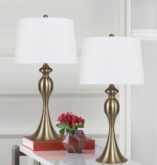 Plated Gold with White Linen Shades Set of 2 Table Lamps