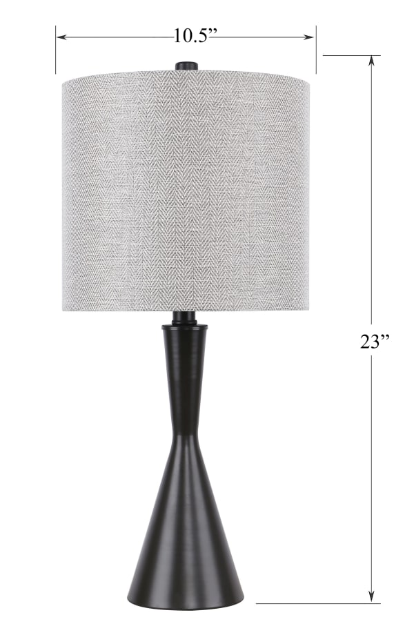 Oil Bronze Table Lamps with Hourglass Body and Natural Drum Shades