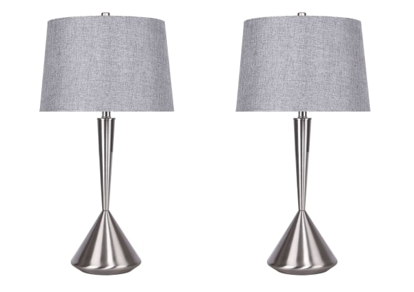 Brushed Nickel Table Lamp Set w/ Modern Angular Hourglass Body & Grey Linen Shades