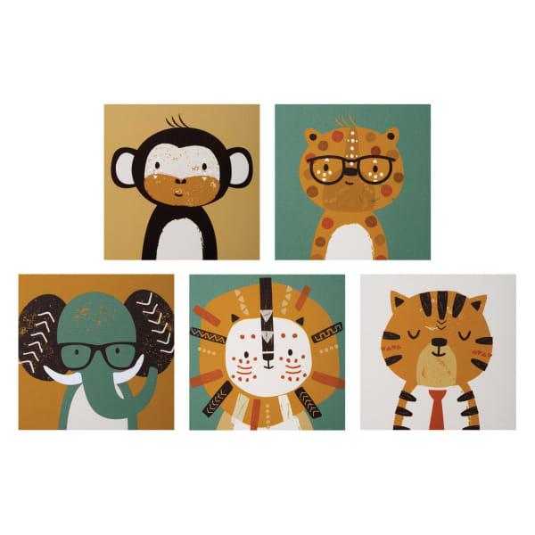 Safari Portraits Canvas Wall Art 5 Pack