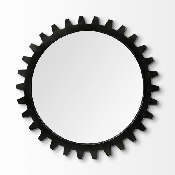 Alloy Cog Round Black Metal Frame Mirror