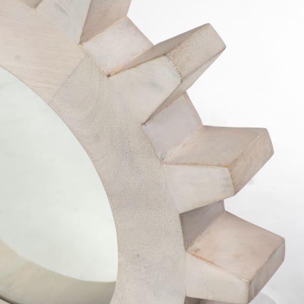 Sterling Cog I Round White Wood Frame Mirror
