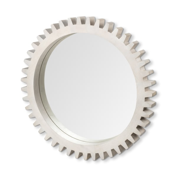 Sterling Cog III Round White Wood Frame Mirror