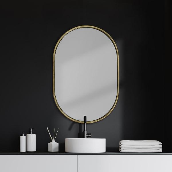 Sylvia I Oval Gold Metal Frame Wall Mirror