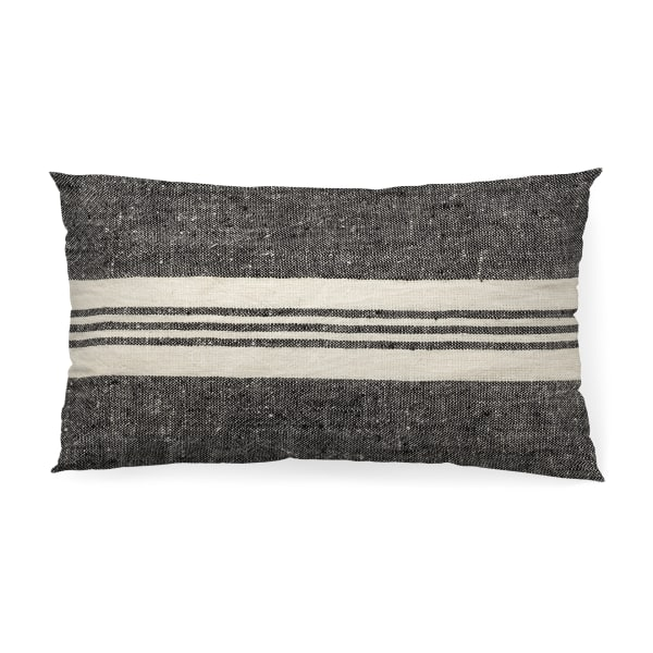 Sharon 14 x 26 Black With Stripes Decorative Pillow Cover