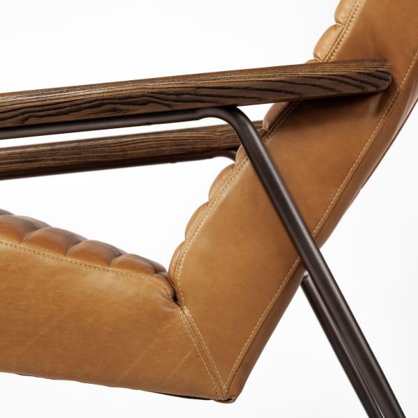 Grosjean Brown Leather Wrap Metal Frame Accent Chair