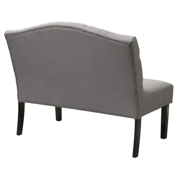 Swan Upholstered Bench with Back in Gray