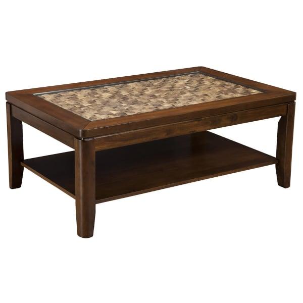 Granada Coffee Table with Glass Insert & Shelf in Brown Merlot