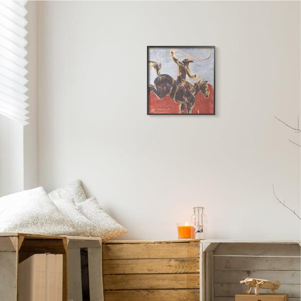 Rustic Western Cowboy Wild Horse Lasso Black Framed Wall Art