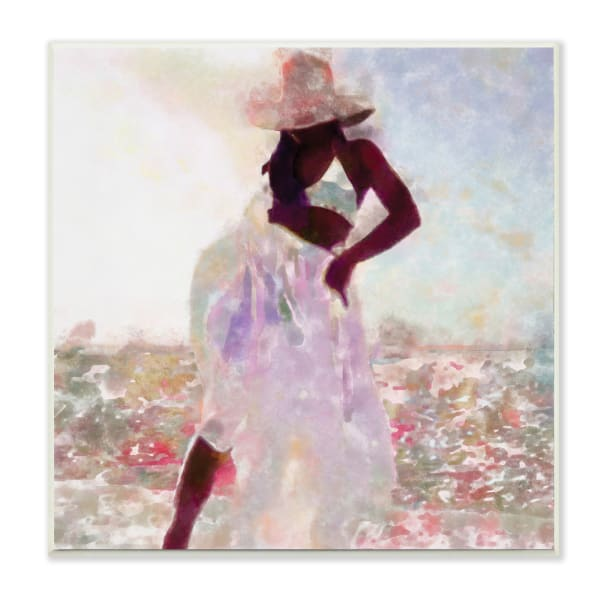 Fashion Style Female Dancing in Floral Field Wood Wall Art, 12 x 12