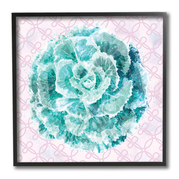 Abstract Green Floral Pop Intricate Pink Pattern Black Framed Wall Art, 12 x 12
