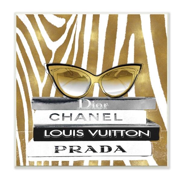 Fashion Sun Glasses Designer Books Gold Zebra Pattern Wood Wall Art, 12 x 12